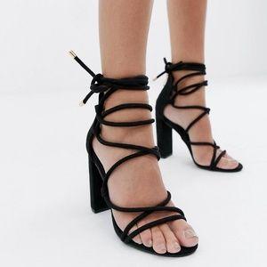 ASOS Black Ankle Tie Heels